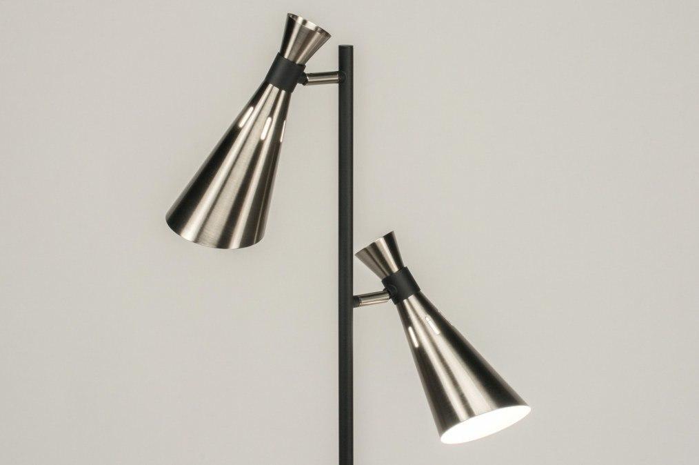 Vloerlamp 11469: modern, retro, staalgrijs, zwart #0