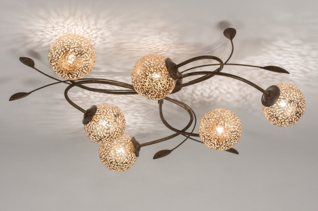 Plafondlamp 11487: klassiek, eigentijds klassiek, brons roest bruin, brons #0