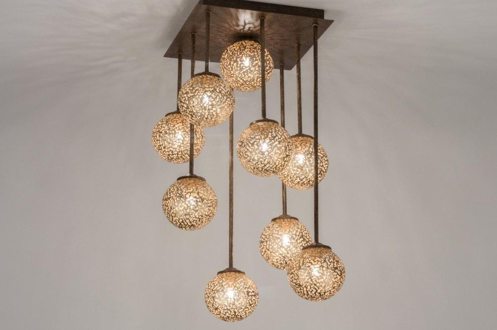 Plafondlamp 11490: klassiek, eigentijds klassiek, brons roest bruin, brons #0