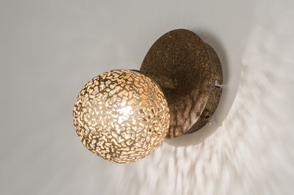 Wandlamp 11492: klassiek, eigentijds klassiek, brons roest bruin, brons #0