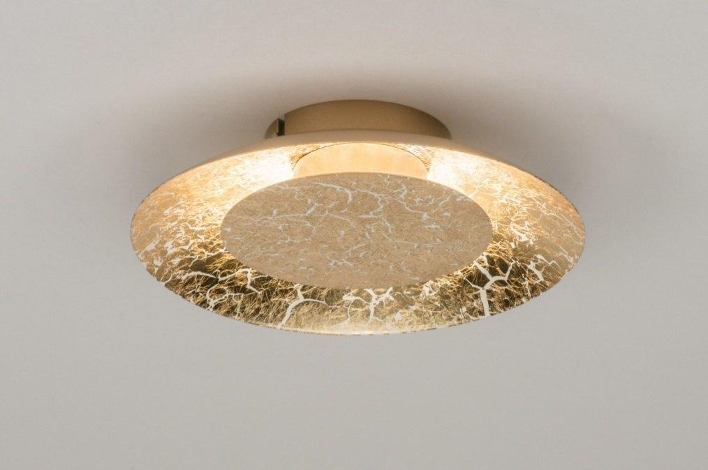 Plafondlamp 11606: modern, eigentijds klassiek, metaal, goud #0