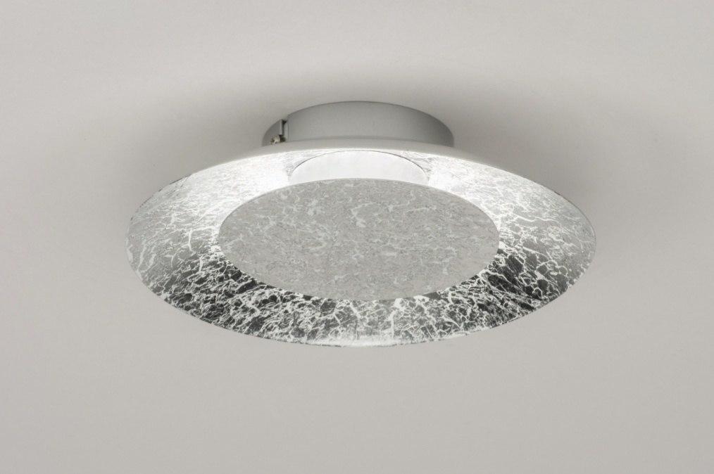 Plafondlamp 11607: modern, eigentijds klassiek, zilver , oud zilver #0