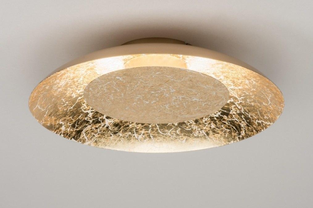 Plafondlamp 11608: modern, eigentijds klassiek, metaal, goud #0