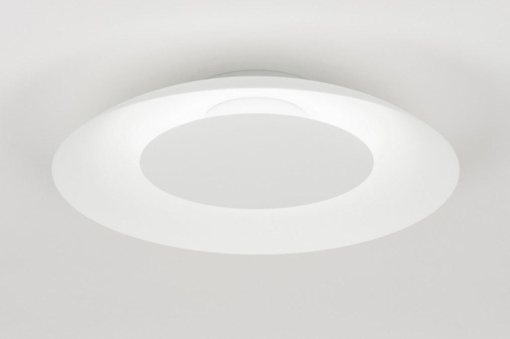 Plafondlamp 11611: modern, wit, metaal, rond #0