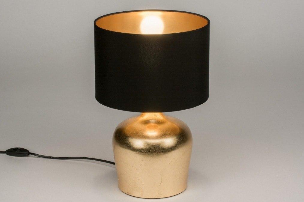 Tafellamp 11750: modern, eigentijds klassiek, stof, zwart #0