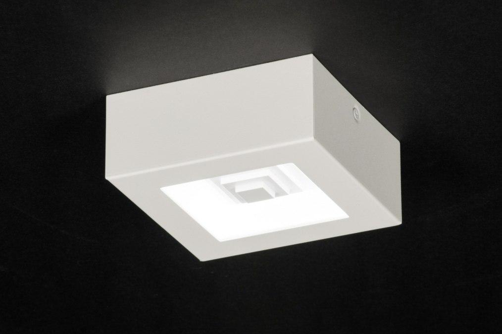 Plafondlamp 11761: modern, wit, mat, metaal #0
