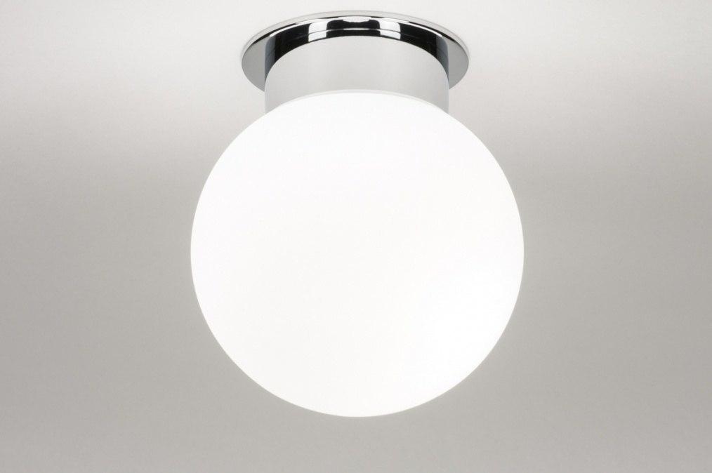 Plafondlamp 11821: modern, eigentijds klassiek, glas, wit opaalglas #0