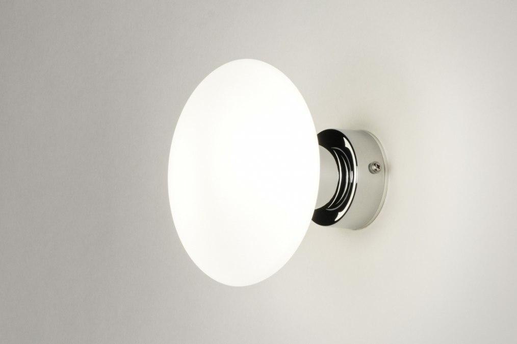 Wandlamp 11822: modern, retro, glas, wit opaalglas #0