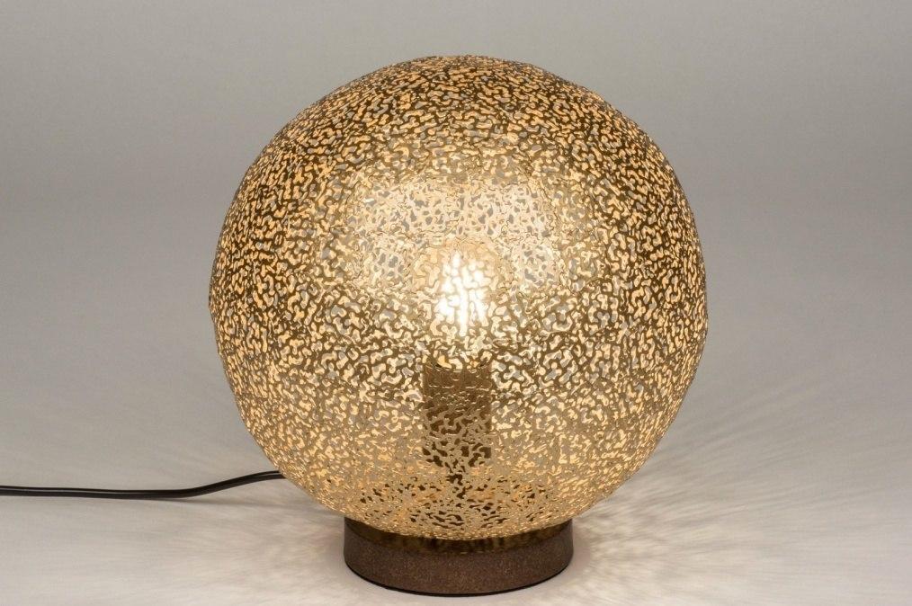 Tafellamp 11896: modern, eigentijds klassiek, metaal, goud #0