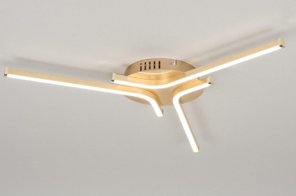 Plafondlamp 11902: modern, eigentijds klassiek, goud, metaal #0