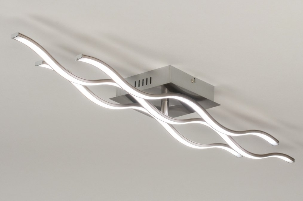 Plafondlamp 11928: modern, RGB multicolor, staalgrijs, kunststof #0