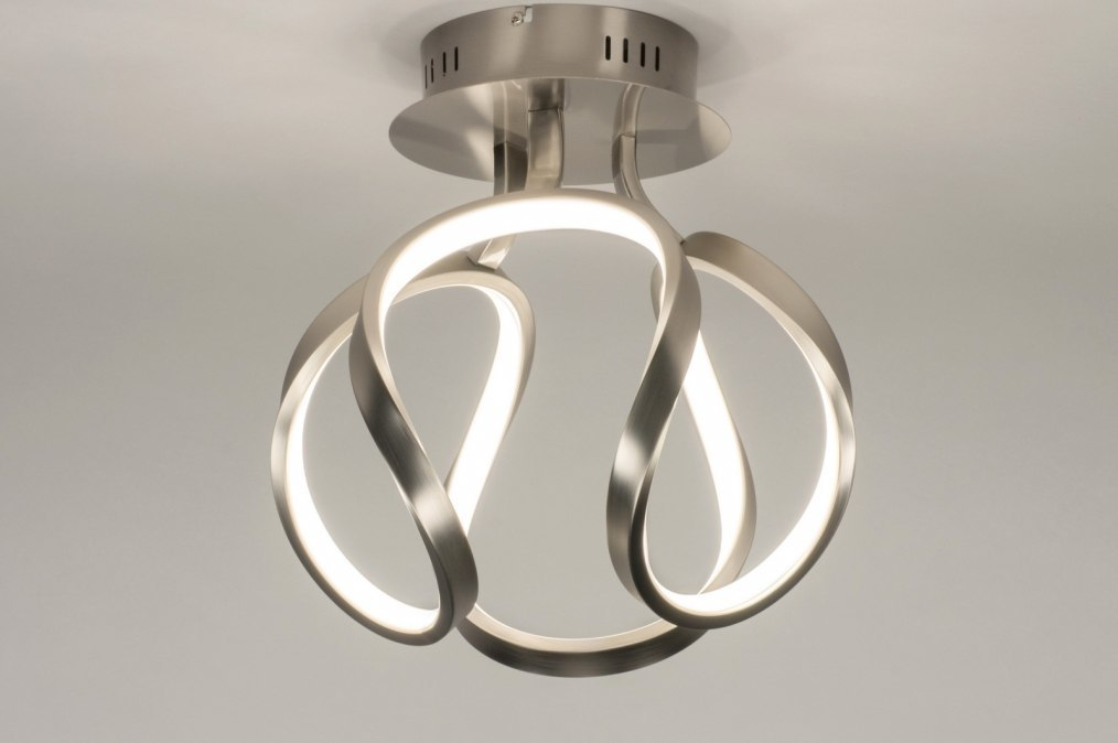 Plafondlamp 11951: modern, staalgrijs, aluminium, metaal #0