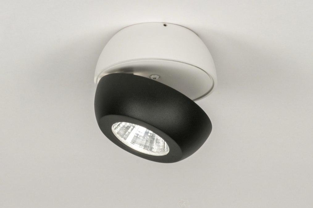 Plafondlamp 11970: modern, wit, mat, zwart #0