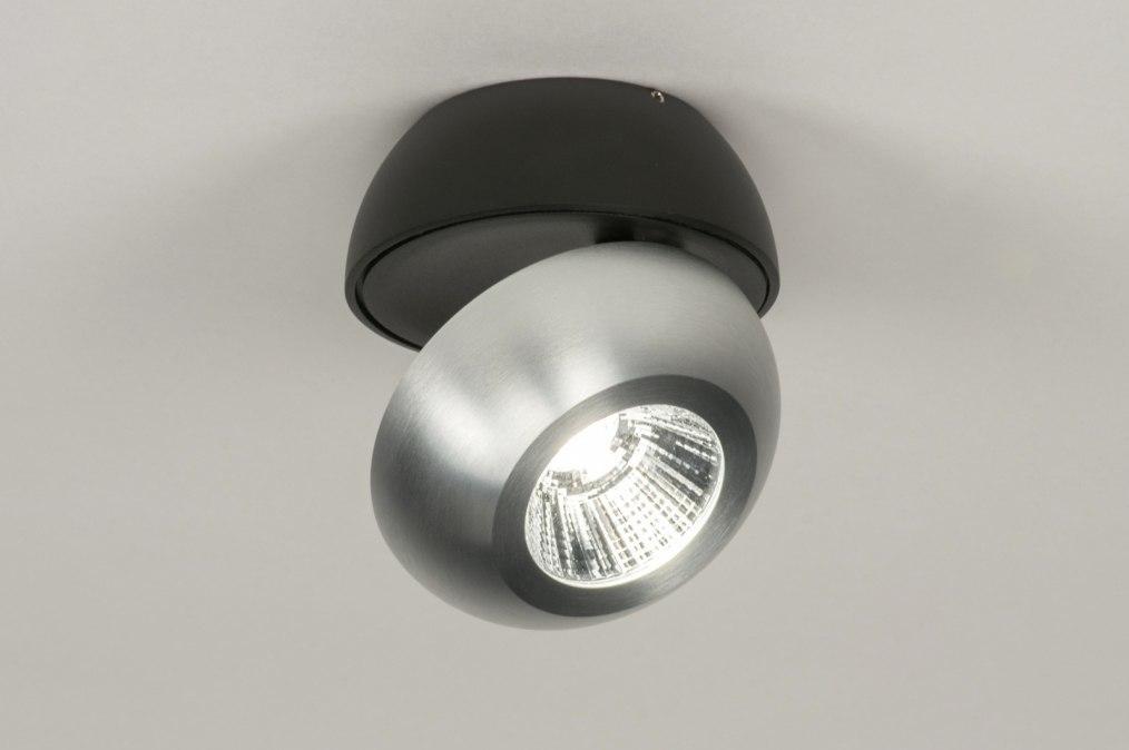 Plafondlamp 11971: modern, aluminium, zwart, mat #0