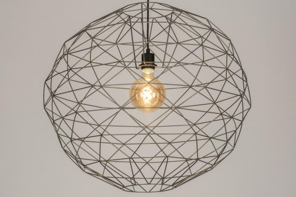 Hanglamp 11993: modern, grijs, staalgrijs, metaal #0
