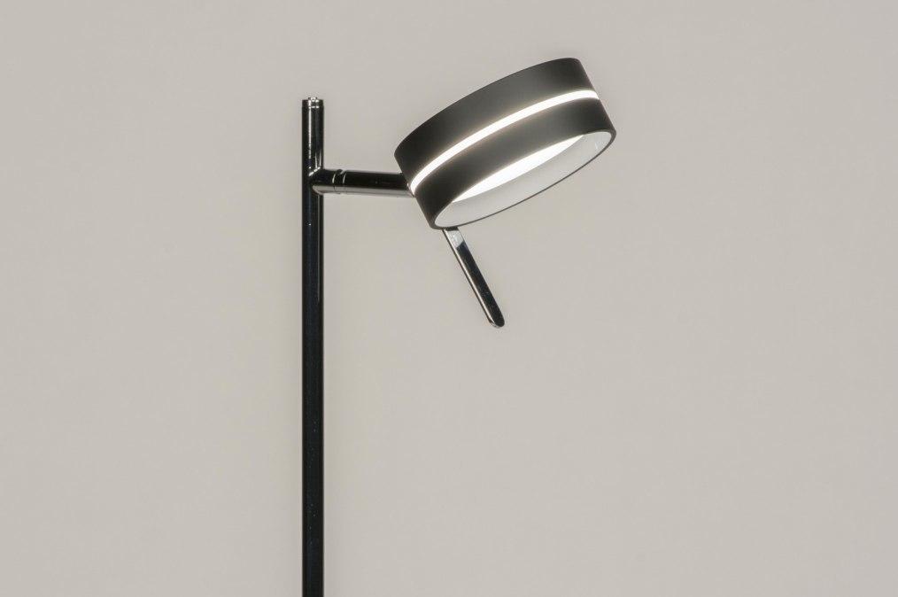 Vloerlamp 12051: modern, chroom, zwart, mat #0