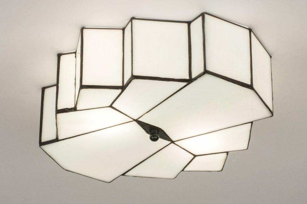 Plafondlamp 12147: eigentijds klassiek, art deco, glas, wit #0