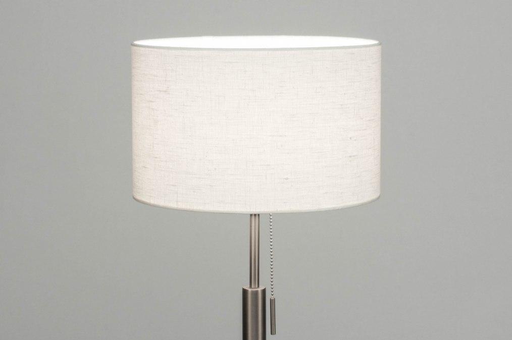 Vloerlamp 12381: modern, eigentijds klassiek, staal rvs, stof #0