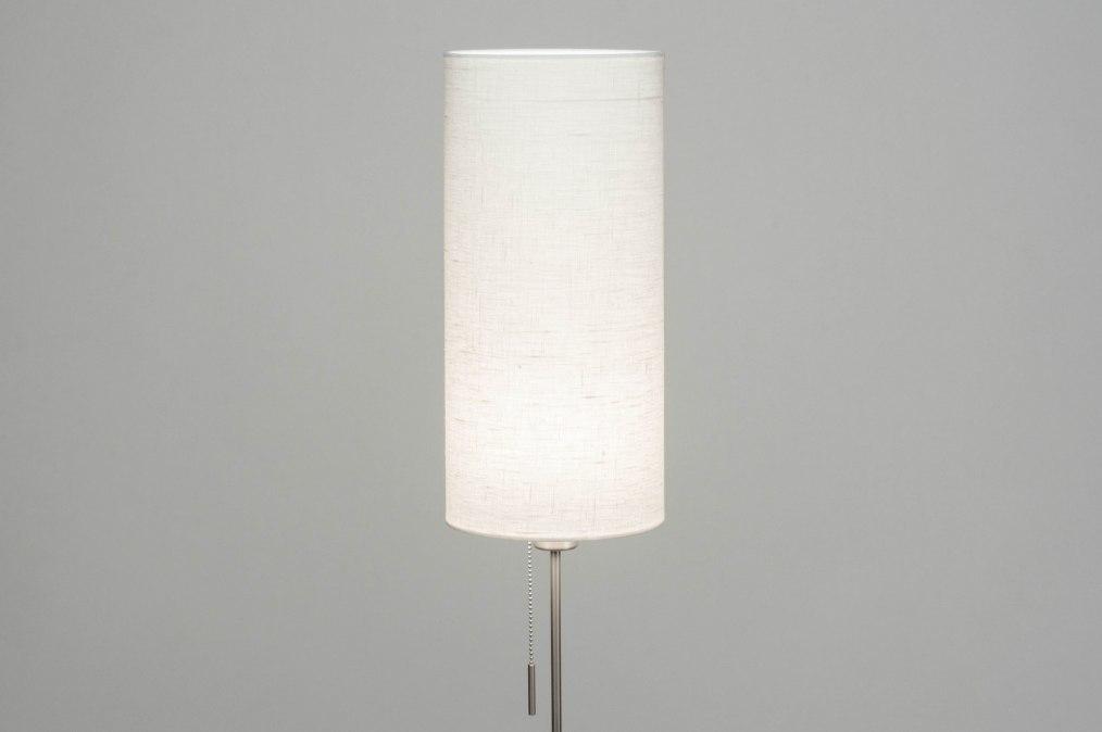 Vloerlamp 12382: modern, eigentijds klassiek, staal rvs, stof #0