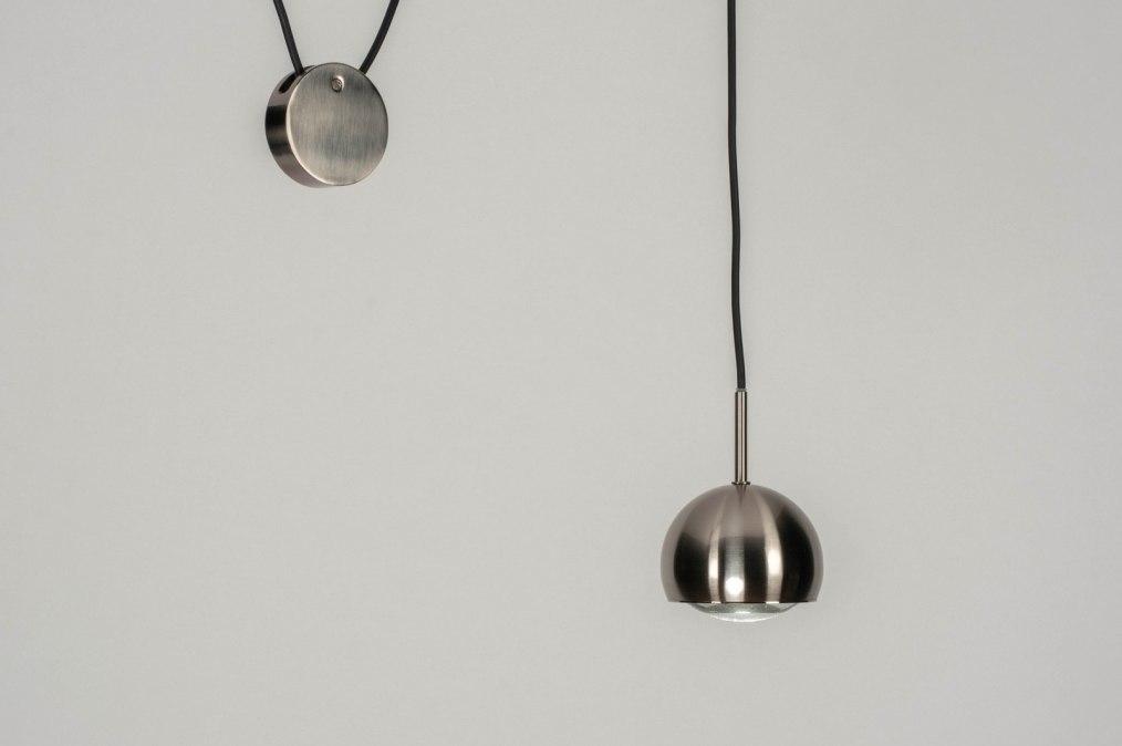Hanglamp 12411: modern, staal rvs, metaal, staalgrijs #0