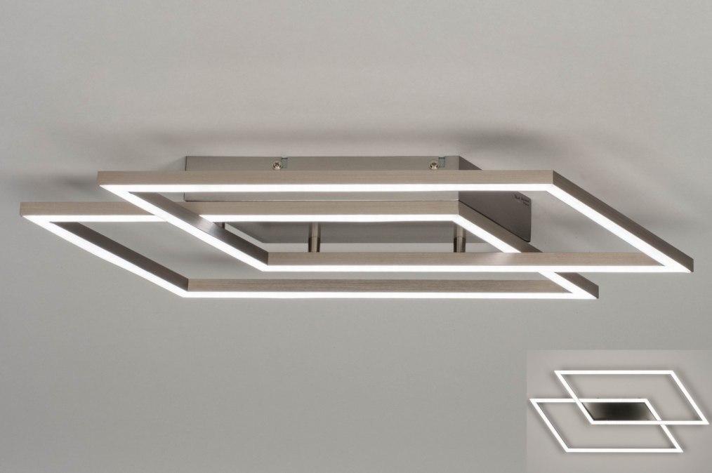 Plafondlamp 12419: design, modern, staal rvs, metaal #0