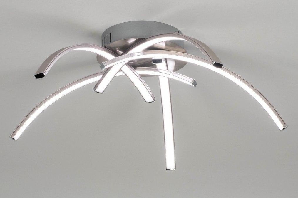 Plafondlamp 12430: modern, staal rvs, metaal, staalgrijs #0