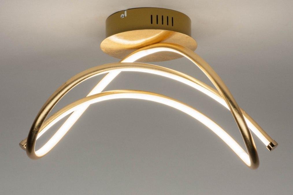 deckenleuchte 12433 modern metall gold rund. Black Bedroom Furniture Sets. Home Design Ideas