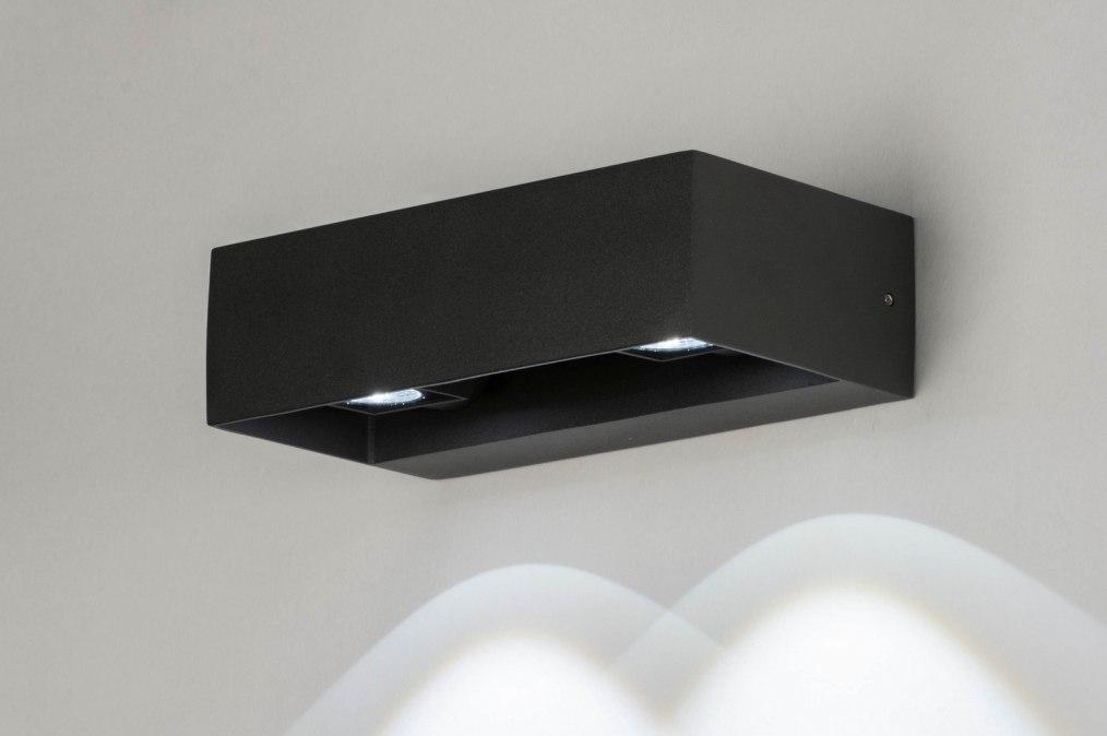 Wandlamp 12453: design, modern, aluminium, zwart #0