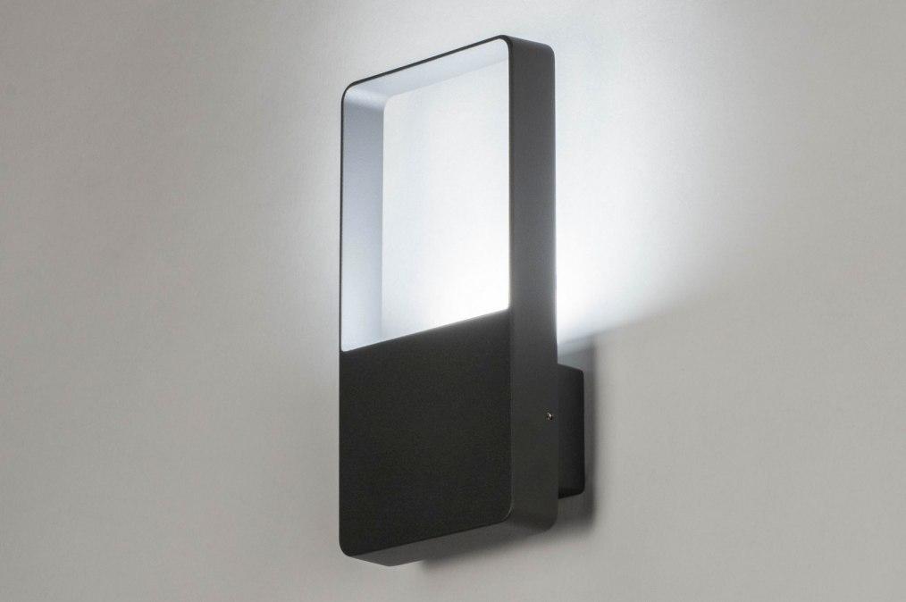 Wandlamp 12459: design, modern, metaal, antraciet donkergrijs #0
