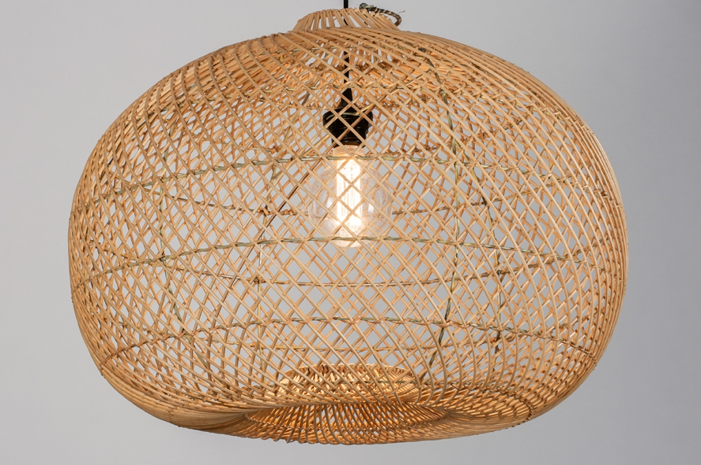 Hanglamp 12464: modern, retro, riet, hout #0