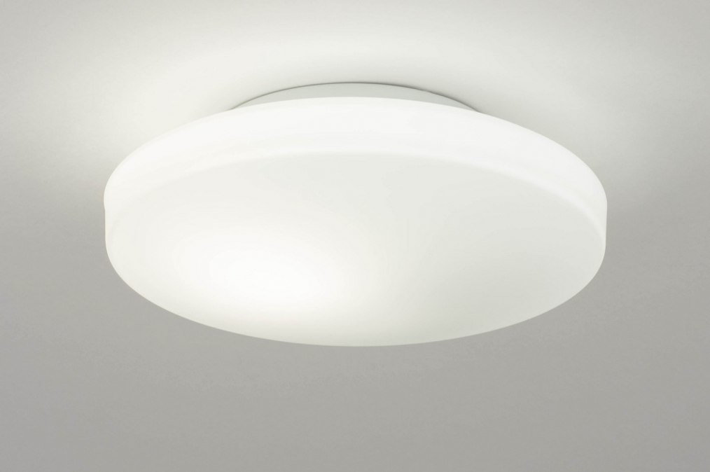 Plafondlamp 12470: modern, glas, wit opaalglas, wit #0