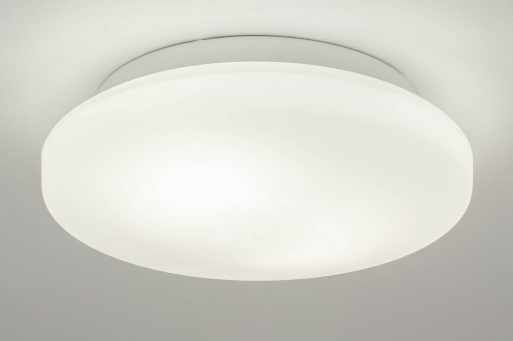 Plafondlamp 12471: modern, glas, wit opaalglas, metaal #0
