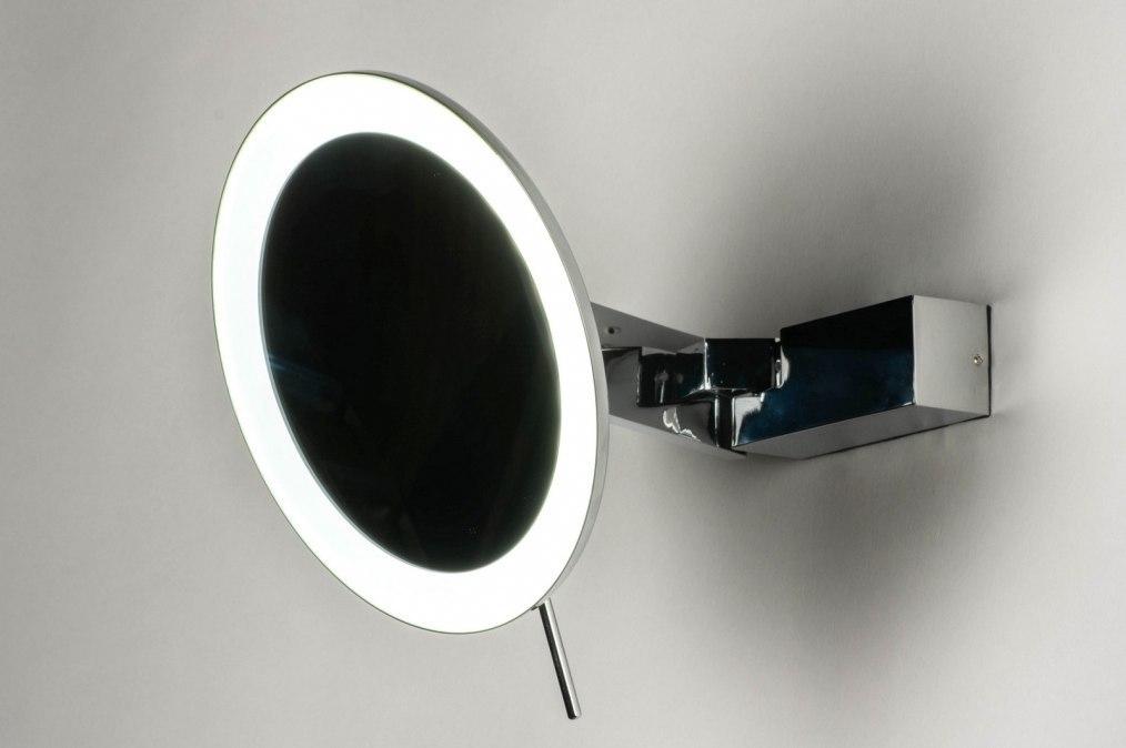 Wandlamp 12476: modern, metaal, chroom, rond #0