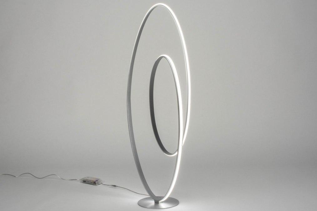 Vloerlamp 12496: modern, design, zilvergrijs, aluminium #0
