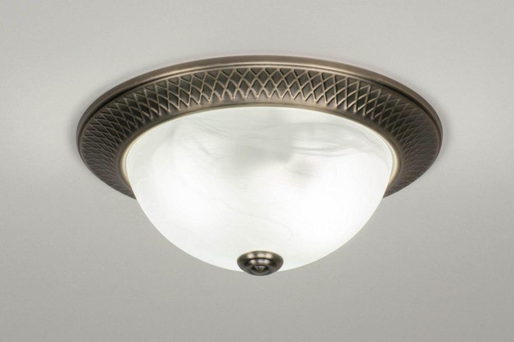 Plafondlamp 12497: klassiek, brons, metaal, brons #0