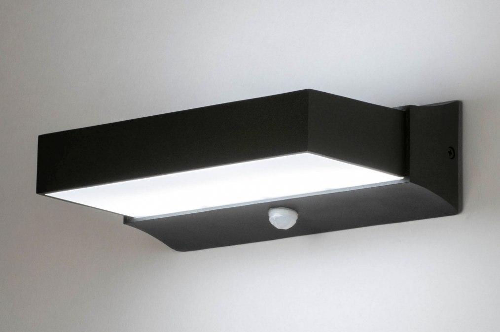 Wandlamp 12505: design, modern, aluminium, zwart #0