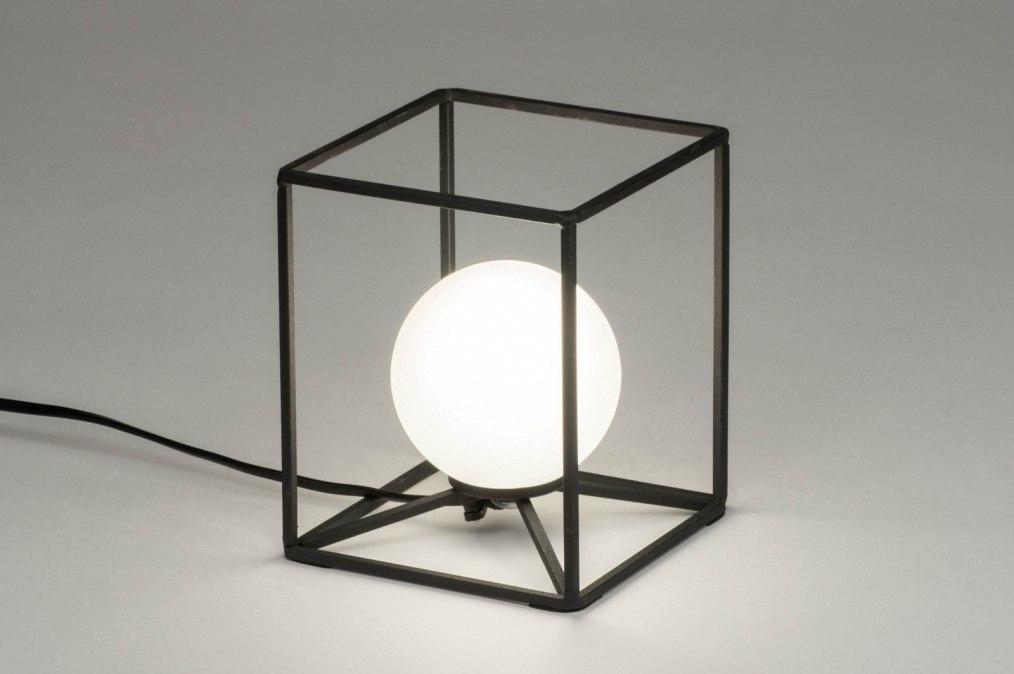 Tafellamp 12506: modern, glas, wit opaalglas, metaal #0