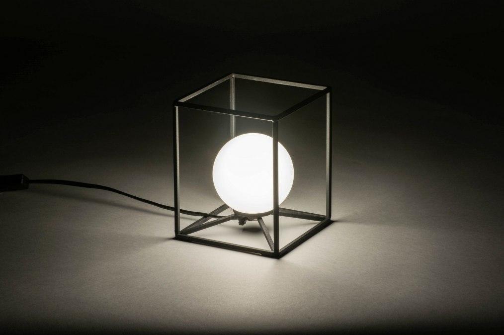Tafellamp modern glas wit opaalglas metaal