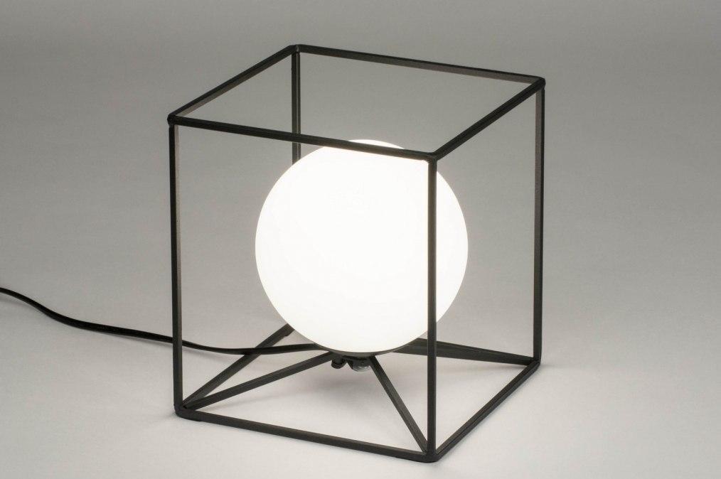 Tafellamp 12507: modern, glas, wit opaalglas, metaal #0