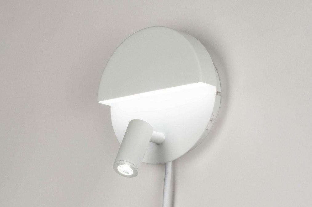 Wandlamp 12508: design, modern, metaal, wit #0