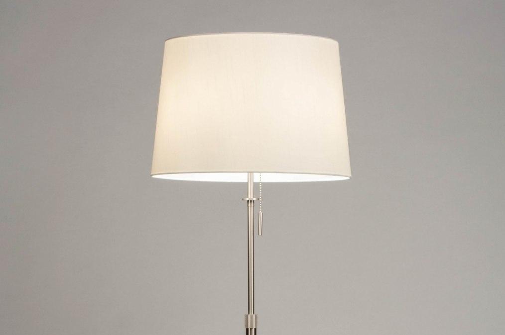 Vloerlamp 12510: modern, eigentijds klassiek, staal rvs, stof #0
