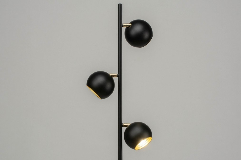 Vloerlamp modern retro goud zwart