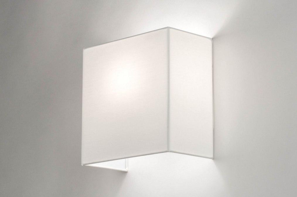 Wandlamp 12627: modern, stof, wit, vierkant #0