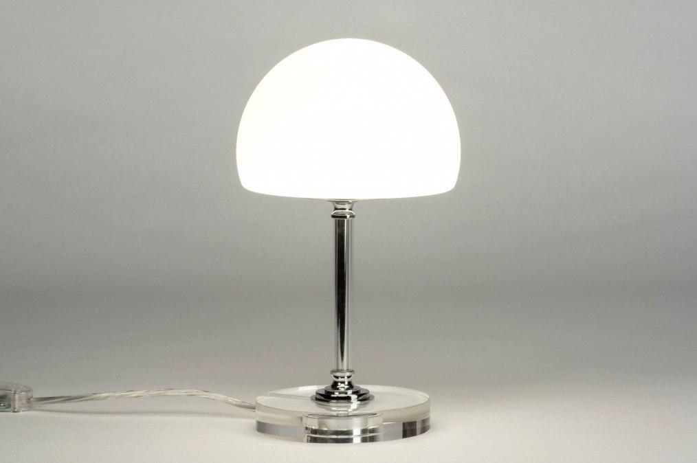 Tafellamp 12659: modern, eigentijds klassiek, glas, wit opaalglas #0
