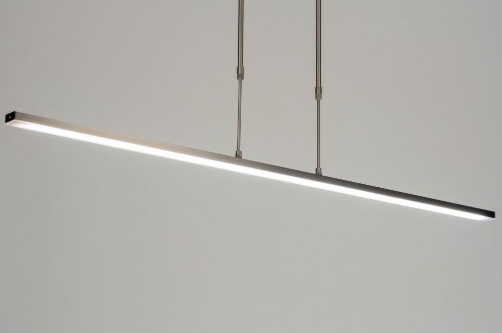 Hanglamp 12662: modern, staal rvs, metaal, langwerpig #0