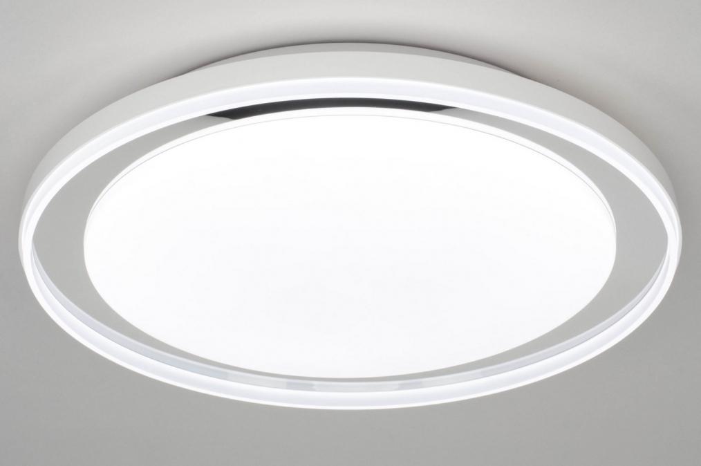 Plafondlamp 12745: modern, kunststof, metaal, wit #0