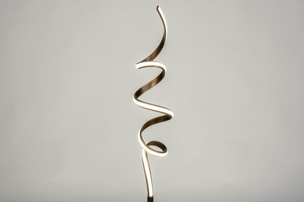 Vloerlamp 12783: modern, eigentijds klassiek, metaal, brons #0