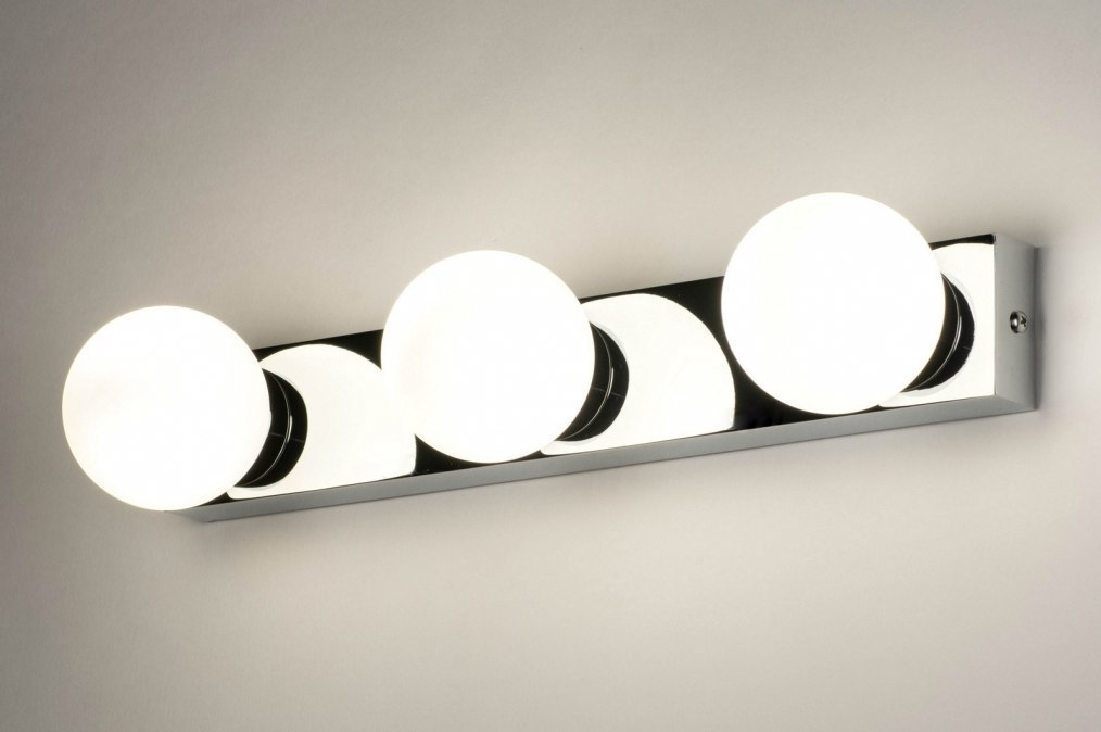 Wandlamp 12819: modern, glas, wit opaalglas, metaal #0