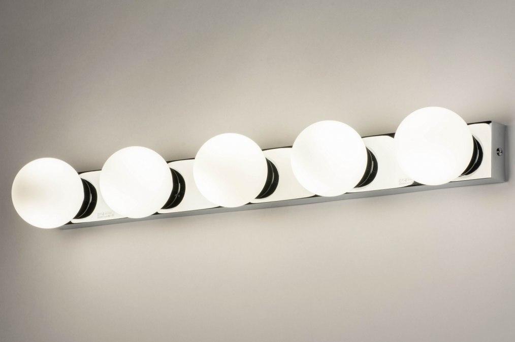 Wandlamp 12820: modern, glas, wit opaalglas, metaal #0