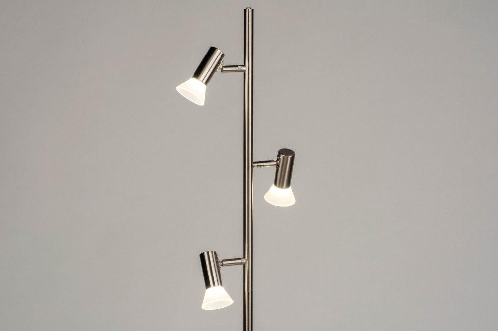 Vloerlamp 12822: modern, staal rvs, metaal, staalgrijs #0